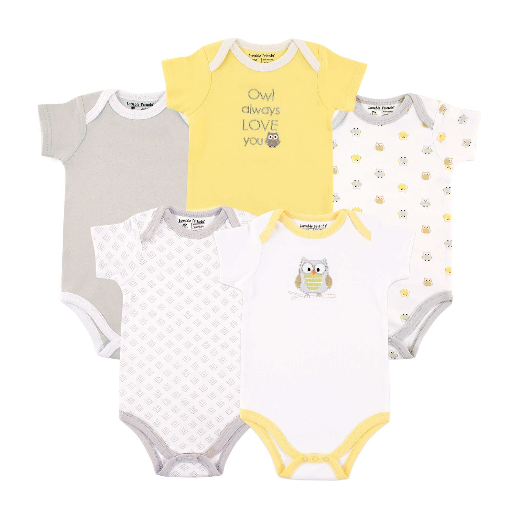 f8cfa302a33 Neutral 5 Pack Bodysuits. Luvable Friends
