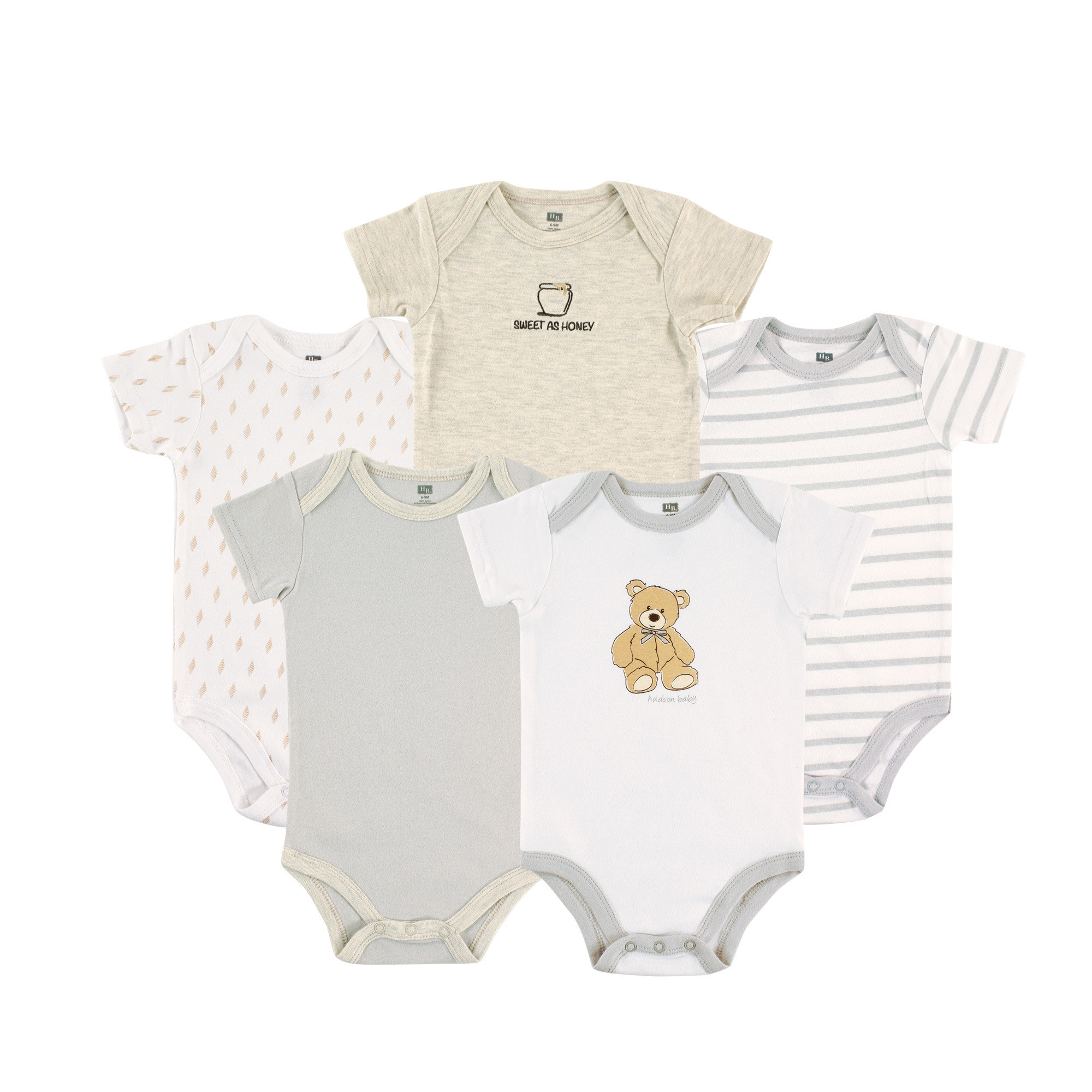 be6e52359303 Hudson Baby Cotton Bodysuits