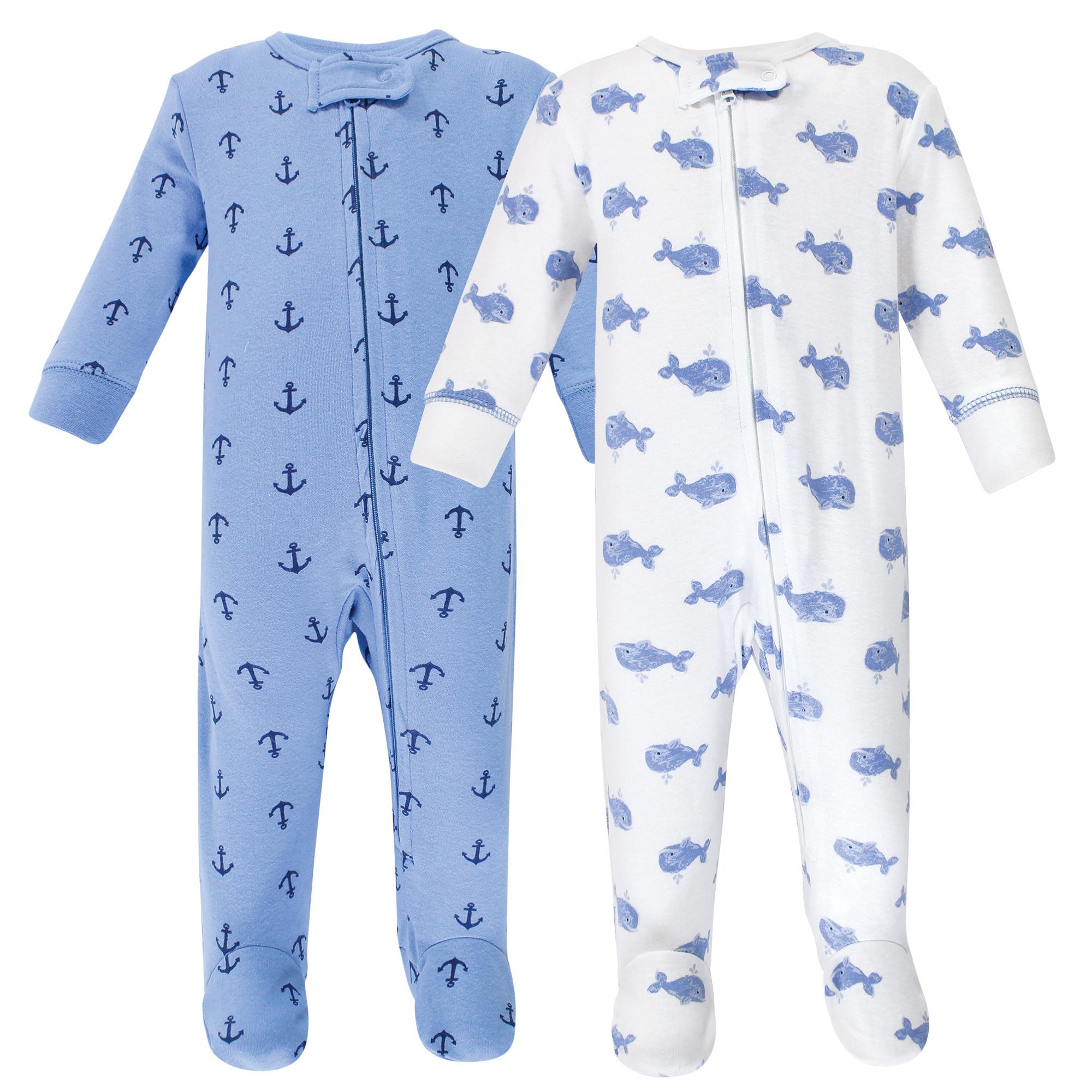 Hudson Baby Boy Zipper Sleep N Play 2-Pack Blue Whales
