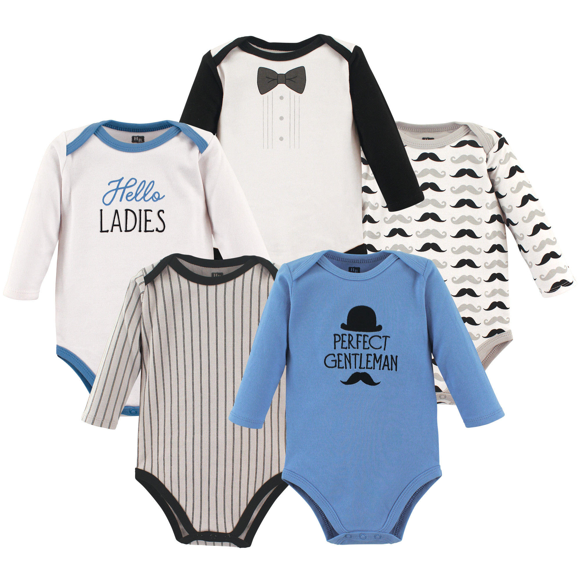247f6e396 Long Sleeve Bodysuits, 5 Pack, Perfect Gentleman. Hudson Baby