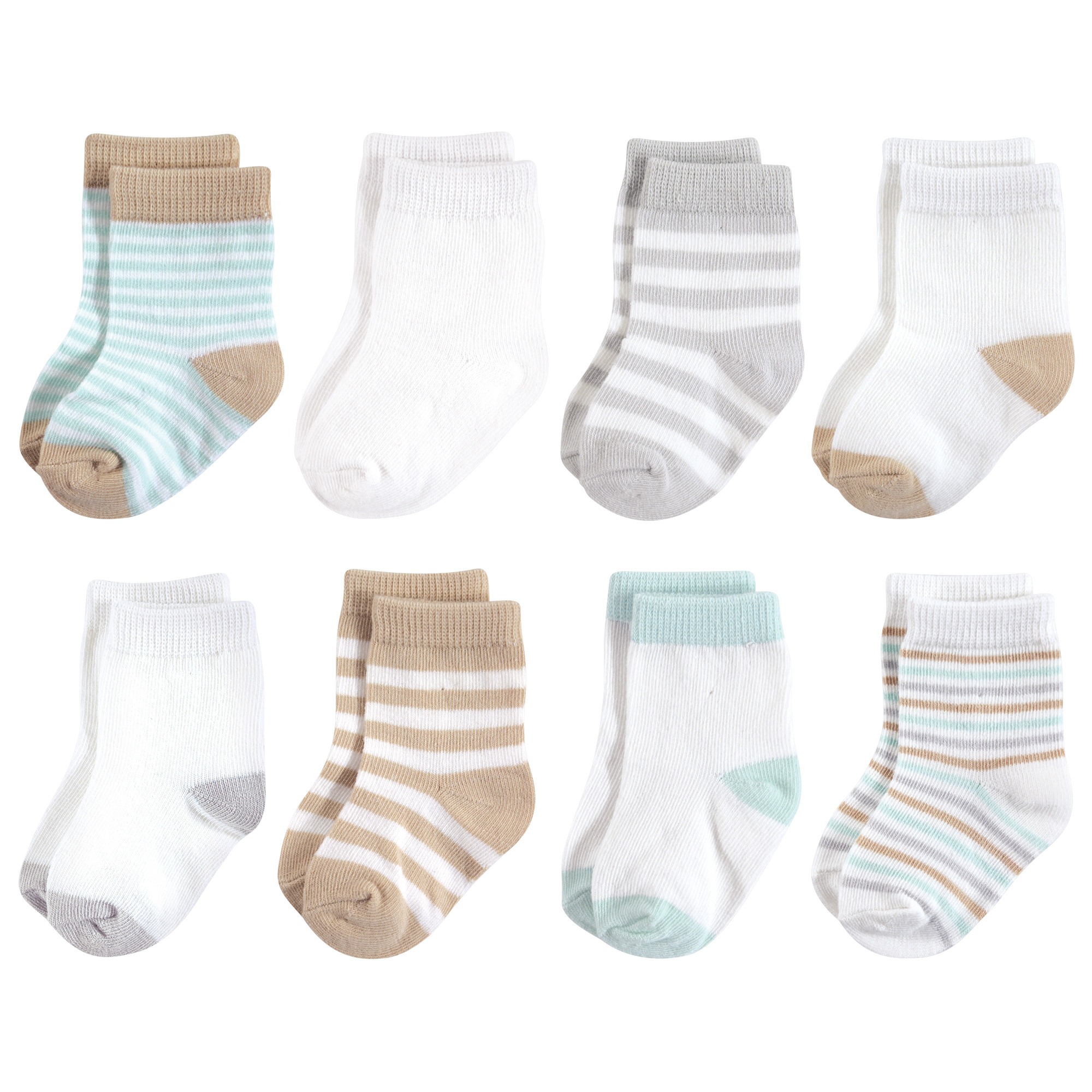8-Pack Garden Floral Touched By Nature Girl Organic Basic Socks