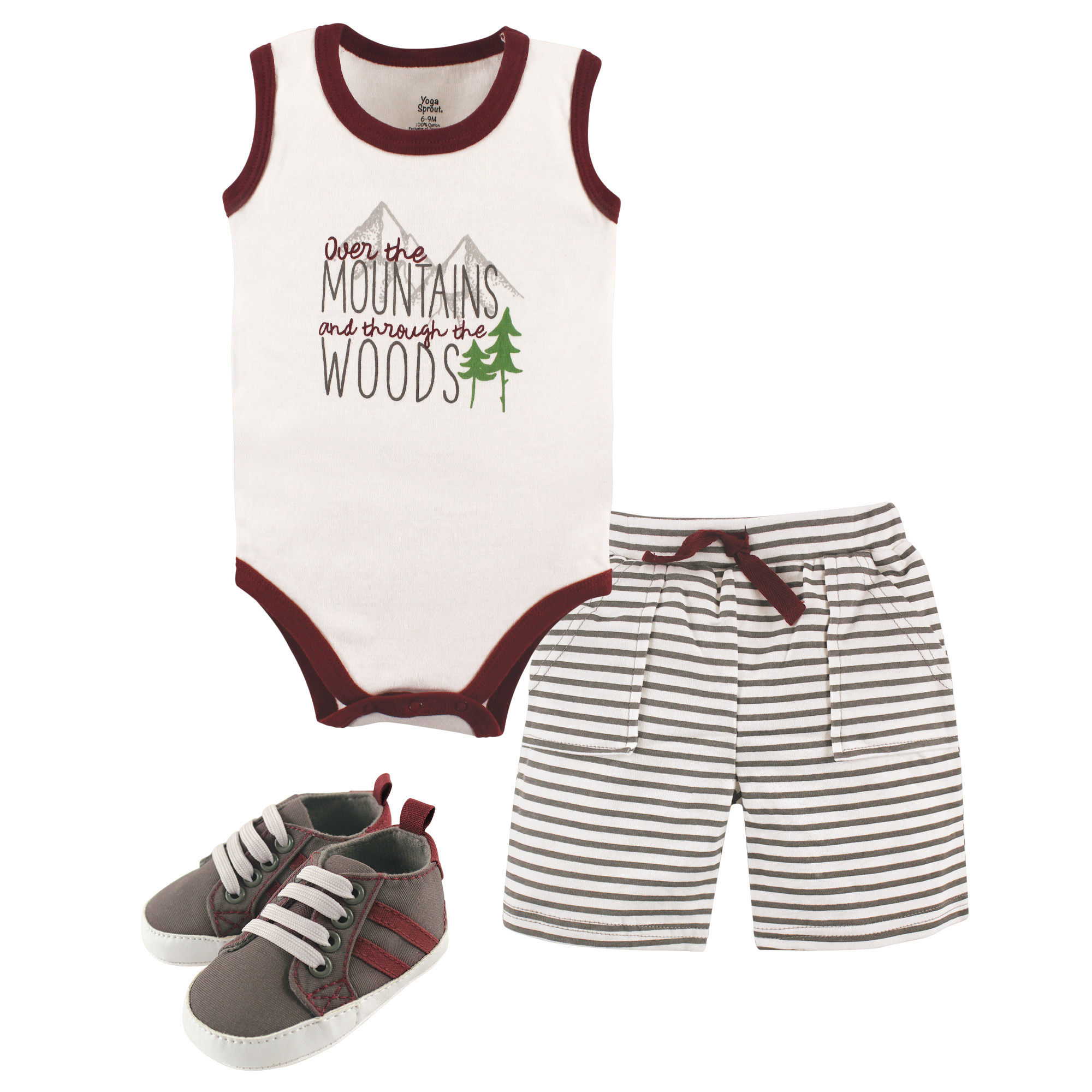 140df096a01a26 Bodysuit, Shorts and Shoes Set, 3 Piece, Over the Mountains. Yoga Sprout