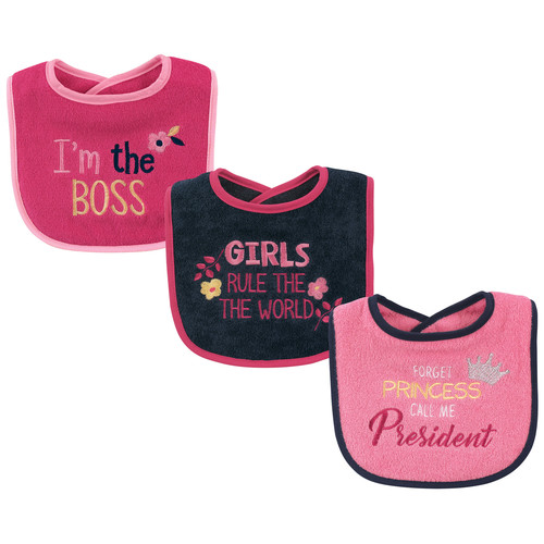 Basic Drooler Bib, 3 Pack, Girls Rule