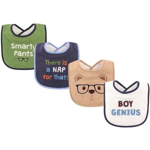 Baby Drooler Bib, 4 Pack, Boy Genius