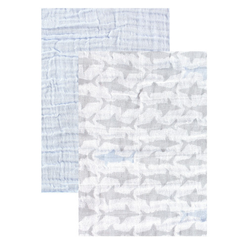 2-Pack Muslin Swaddle Blankets, Shark Collection