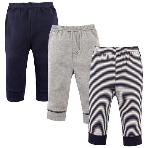 3 Pack Tapered Ankle Toddler Pants, Navy Stripes
