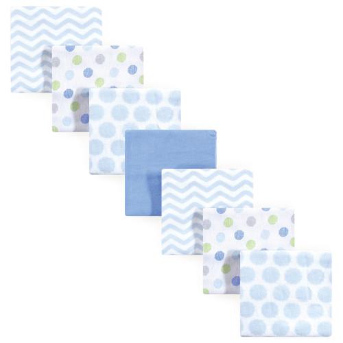 Flannel Receiving Blanket, 7-Pack, Blue