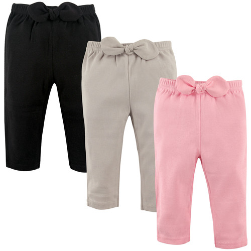 Baby-Girl's Cotton Waist Bow Pants, 3 Pack