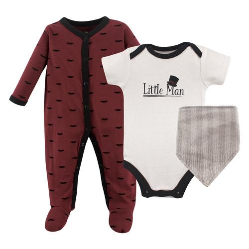 Hudson Baby Sleep And Play Bodysuit And Bandana Bib Set 3 Piece