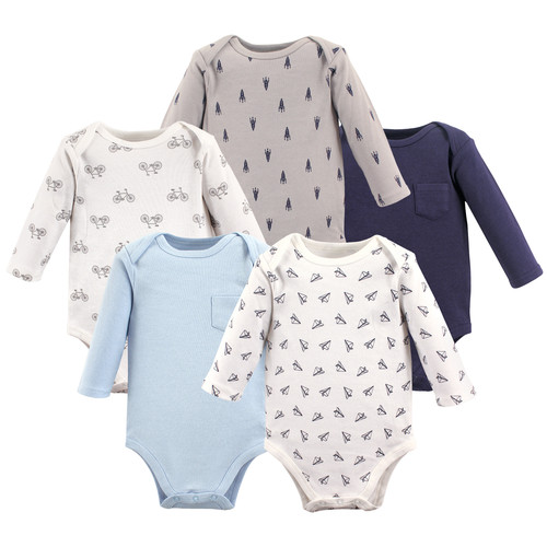 b85e6eac00a3 Long Sleeve Bodysuits, 5 Pack, Paper Airplanes (55273). Hudson Baby