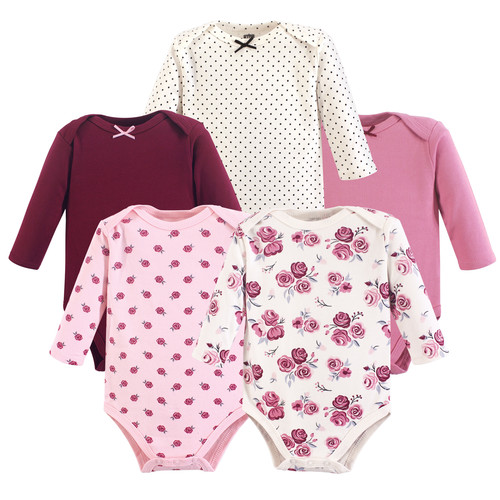 f0b62275e0e3 Hudson Baby - Long Sleeve Bodysuits, 5-Pack, Rose | Affordable ...