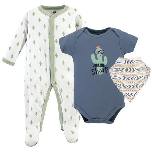 Hudson Baby Sleep And Play Bodysuit And Bandana Bib 3 Piece Set