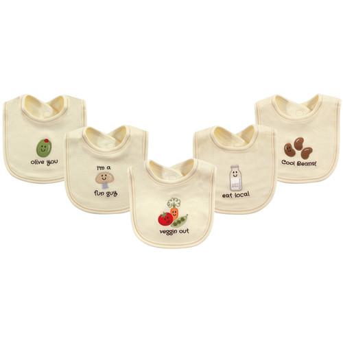 Organic Cotton Bibs, 5 Pack, Veggies