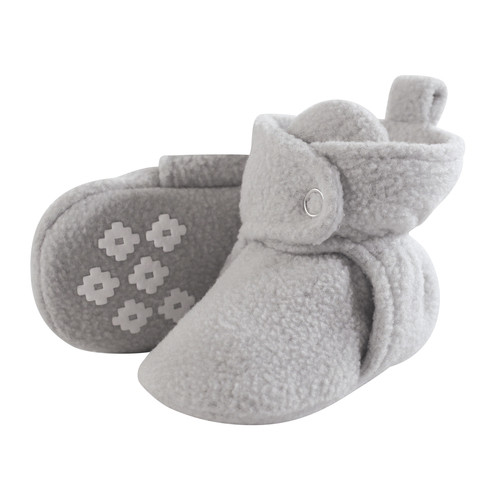 Baby Fleece Booties, Light Gray, 18-24 Months