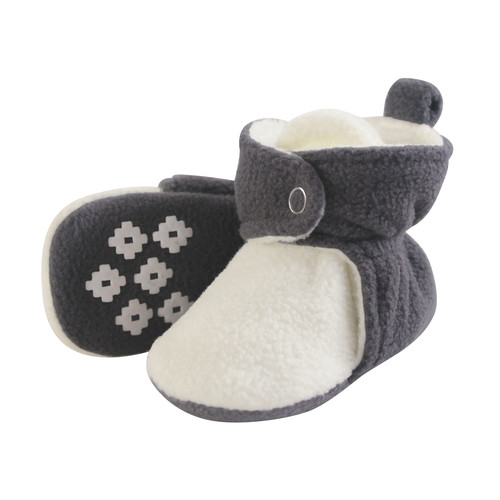 Baby Fleece Booties, Charcoal and Cream, 12-18 Months