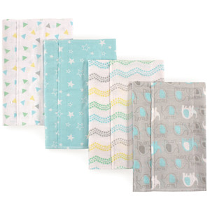 Layered Flannel Burp Cloths, 4 Pack, Gray Elephant