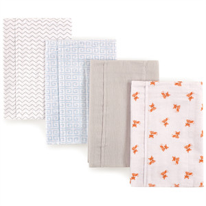 Layered Flannel Burp Cloths, 4 Pack, Fox