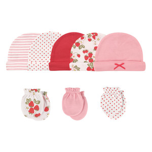 Cap and Scratch Mitten Set, 8 Piece, Strawberries