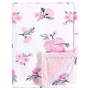 Hudson Baby Boy and Girl Mink Blanket with Sherpa Back, Pink Floral