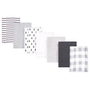 Organic Cotton Burp Cloths, Gray Plaid, One Size