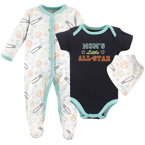 Luvable Friends Baby Sleep And Play Bodysuit And Bandana Bib 3